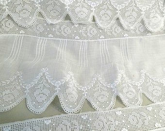 Antique lace embroidery tucked edging, gorgeous quality vintage lace, doll dress, needlework projects