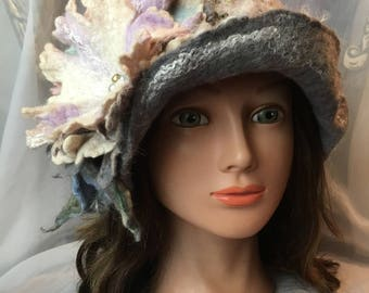 Designer warm wool wet  felted cloche hat grey gray white merino wool Tatiana123 hats