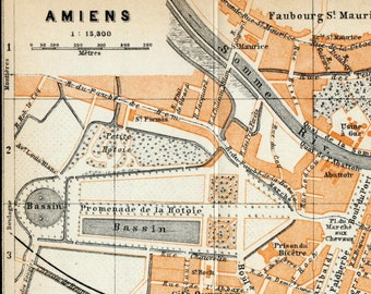 Antique Map of Amiens, France - 1902 Vintage City Map - Old City Map