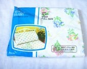 Vintage Sheet, Flat Sheet Full Size, Unused Unopened NOS, JC Penny, Flowered Sheet, No Iron Muslin