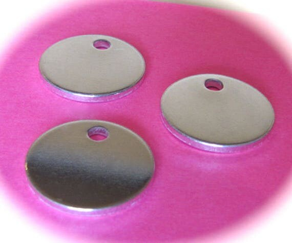 "50 Discs 1/2"" 14 Gauge Polished with Hole Pure Food Safe Metal - 50 Discs"