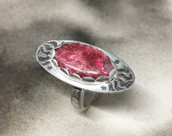 Vinber wine berry etched sterling and thulite statement ring, a perfect gift for fierce women