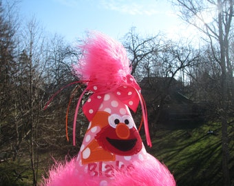 Elmo birthday hat, smash cake hat, birthday hat free personalization, 1st elmo birthday, 2nd birthday party hat, smash cake hat, elmo party
