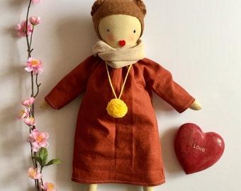 Fabric doll, Brown hair fabric doll, rag doll, cloth doll, linen dress. gift for girls, elegant doll, pom pom, heirloom doll