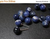 SWEET SALE Rare Natural Genuine Untreated AA Grade Half Drilled Royal Blue Sodalite From Brazil Round Beads for Earrings or Pendants - 8mm -