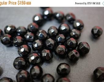 WINTER SALE 50% OFF - Jet Black Onyx Round Ceramic Beads - 6mm - 30 pcs