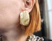 Marbled EARRINGS / Vintage Large Plastic Earrings / Women's Jewelry