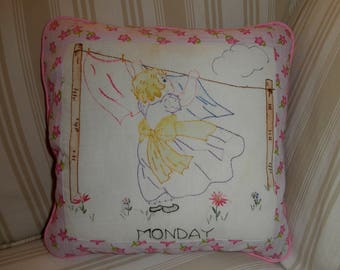 Simply Sheila decorator pillow antique quilt square little girl hanging wash Monday pink