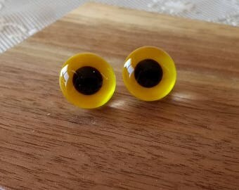 Vintage Handmade Glass Animal Bear Eyes Set of 2 Glass Eyes 5/8 inch Yellow Black