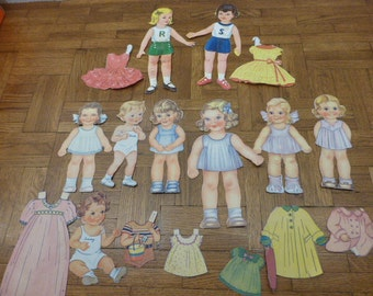 Vintage Lot of 9 Mid Century 40s 50s Paper Dolls for Scrapbooking