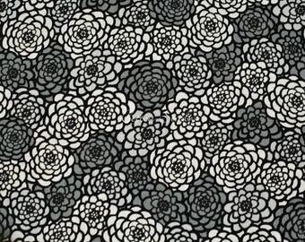 Japanese Fabric Chrysanthemum Gray by the Half Yard Japanese Modern Kimono Print Floral