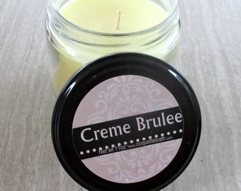 Creme Brulee Jar Candle, Super scented foodie candle, cream colored wax, vanilla custard candle, carmelized vanilla scent