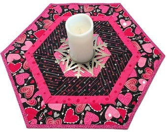 Valentines Day Hexagon Table Runner Quilt, Table Topper or Candle Mat, Pink, Red and White Hearts Table Runner Quilt, Quiltsy Handmade