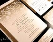 Burlap Lace Flourish Country Custom Wedding Invitation Monogram Initial Rustic Fall Autumn Summer Spring Winter Shabby Chic Gold Yellow Set
