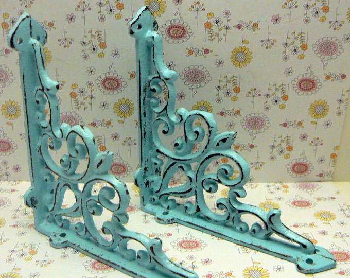 Shelf Bracket Cast Iron FDL Brace Blue Cottage Chic Beach Nautical 1 Pair DIY Home Improvement