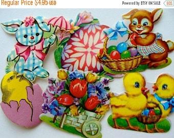 ON SALE Vintage Kitsch Easter Dennison Mixed  Gummed Seals