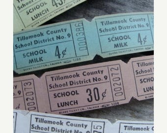 ON SALE 2 Dozen Vintage School Antique Milk and Lunch Tickets Gorgeous Colors