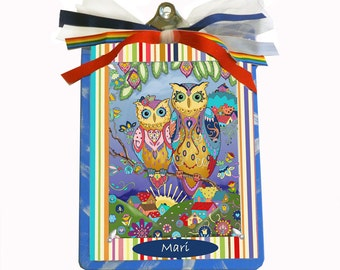 Personalized Clipboard Designed with Your Own Coloring Page Doodle Owl