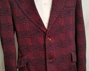 Mens vintage blazer, plaid, 42, 70s