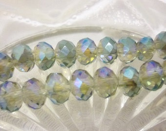 6mm AB Mystic Crystal Rondelles,Faceted Crystal 8 Beads
