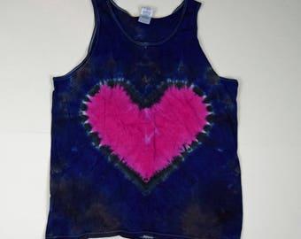 Pink Heart on Deep Blue Tie Dye Tank Top (Gildan Ultra Cotton Tank Size L)(One of a Kind)