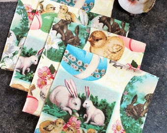 Cloth Napkins Set of 4, Easter Bunny and Chicks, Reusable Unpaper Towel, Lunch Napkins, Vintage Images