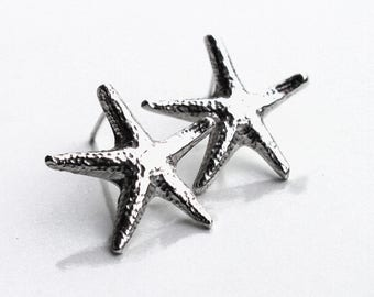 Starfish Earrings, Sterling Silver Starfish Stud Earrings, Beach Jewellery, Recycled Silver, Cast from real starfish, Beach Jewellery, Stars