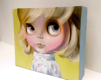 RESERVE SARAH 4/5 layaway Blythe Doll Oil Painting on wooden block 'Blockhead' series 'Pixie'