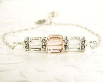 Blush Pink Swarovski Crystal Cube Bracelet, Rhinestone Accents, Silver Gray Crystal, Minimalist Simple Bridesmaid Wedding Jewelry, Handmade