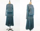 90s does 30s Lace Dress Small Medium Large / Vintage Sheer Lace Dropwaist Dress / Film Noir Dress