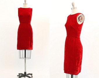 50s Dress Velvet XXS / 1950s Vintage Red Velvet Wiggle Dress / Cherry on Top Dress