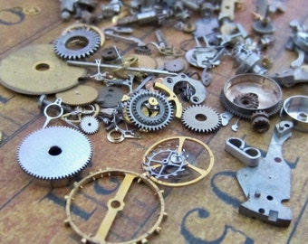 Vintage WATCH PARTS gears - Steampunk parts - K16 - Listing is for all the watch parts seen in photos