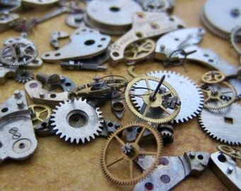 Vintage WATCH PARTS gears - Steampunk parts - K30 Listing is for all the watch parts seen in photos