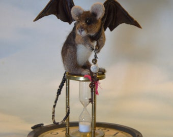 "Steampunk  Mouse ""Timme Flys"" Life Size Taxidermy type Mice OOAK Artist Needle felt Sculpture Skull Vtg Hour glass Clock Face Leather wings"