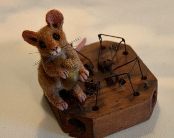 Vintage Mouse Trap Mouse Realistic Life Size Tan Alpaca & camel Needle Felted Soft Sculpture Taxidermy Style Faux Acorn by Artist Stevi T