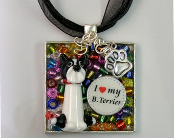 Boston Terrier- Mosaic Story Collage Pendant Necklace-One of a Kind, Artist Signed, Glass Beads