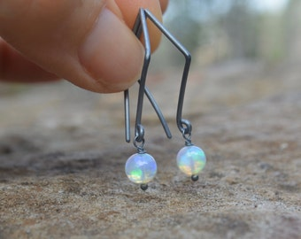 Welo Ethiopian Opal Earrings Oxidized Silver