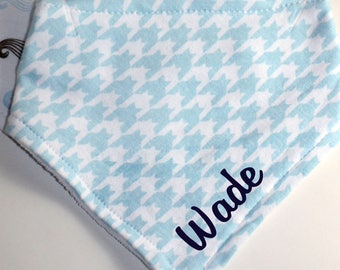 Bandana Drool Bib Set of 2- Baby Boy, Personalized, Embroidered, Blue Patterned, Mustache, New Baby Gift, Baby Shower