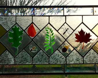 Nature Trail Stained Glass Panel Window sun catcher