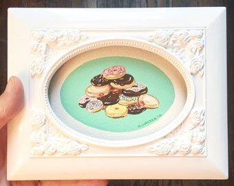 Tiny Original Framed Art, Small Pile of Donuts, Gouache Painting