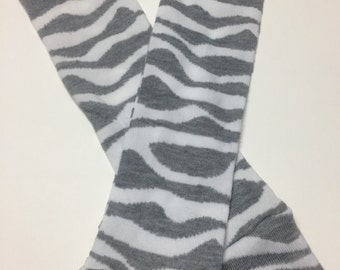 Handmade Baby Toddler Child Leg Warmers / Arm Warmers - Pale Zebra