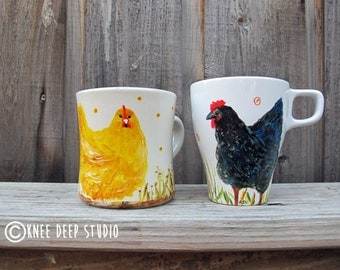 Chicken Coffee Cup HandPainted Fine Art Yellow Hen Black Hen on Ceramic Mug Original Paintings OOAK Art Gift Holiday Gift Under 50