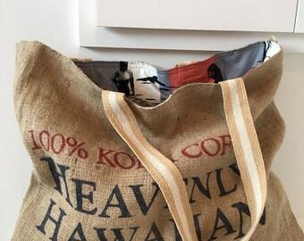 Heavenly Hawaiian Coffee Sack Tote/ Burlap/ Beach Bag/ Market Bag/ 80's Fabric