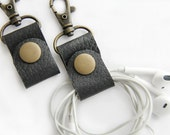 PAIR of Earbud Holders Black Leather Cord Keepers Headphone Wrap Cord Wrapper with Clip
