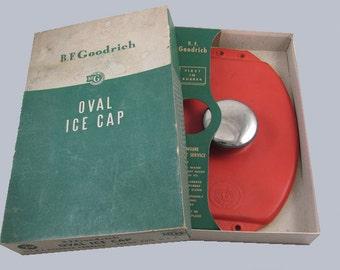 Vintage mid century B.F. Goodrich oval ice cap / Akron / Ohio / rubber / medicine / nurse / doctor / ice bag / headache / hangover / medical