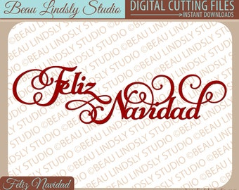 Feliz Navidad SVG, Christmas SVG Cutting File, Holiday SVG, Christmas Clip Art, svg File For Silhouette Project, svg For Cricut Projects
