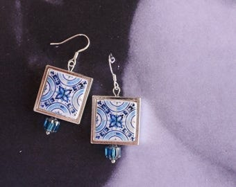 Silver Earrings Portugal Tile Azulejo Antique Portuguese Replica FRAMED Porto Blue  (see photo of facade) - Gift Box included 1623