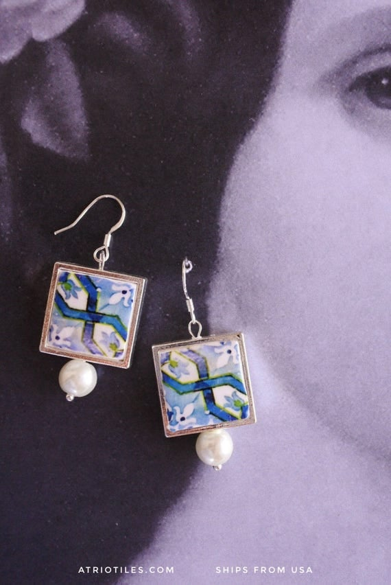 SILVER EARRINGS Portugal Antique Azulejo Tile  Replica Earrings from Porto Blue  - Gift Boxed Ships from USA 1652