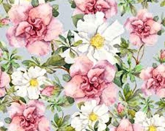 Dollhouse Miniature Shabby Chic Wallpaper Pink and Green Floral Watercolor 1:12