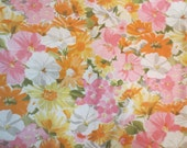 "Vintage Retro Flat Sheet Floral Pink Orange Yellow flower design 81 x 104"" fits a flat to queen Cannon Royal Family Featherlite"